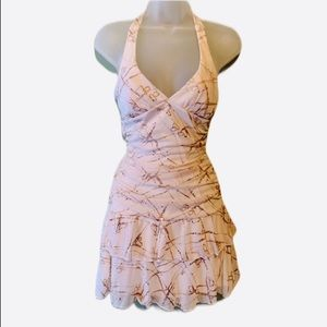 Finesse White & Gold Halter Top Dress, Size Small